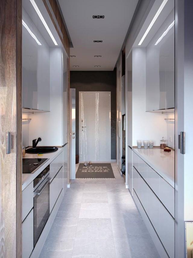 Bếp ăn nhỏ thoáng sạch được bố trí vô cùng thuận tiện. Chạy dọc bếp nấu là hệ thống móc treo vừa đơn giản mà rất hữu dụng cho người nội trợ.