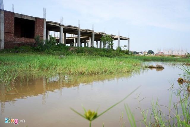 Dự án đại học Hoa Lư Ninh Bình ngập nước mưa