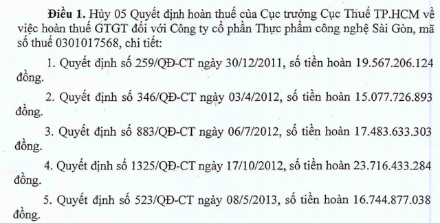 5 quyết định hoàn thuế GTGT đối với IFC từ các năm 2011, 2012, 2013 mà Cục thuế TP HCM hủy bỏ.