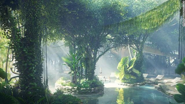Các thiết bị thông minh giúp tạo ra môi trường nhiệt đới toàn diện cho khu rừng nhân tạo. Thậm chí, nó còn sở hữu cả thác nước, suối hay những hồ nước.