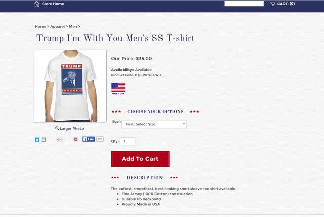 Hình ảnh từ trang web bán hàng của Donald Trump.