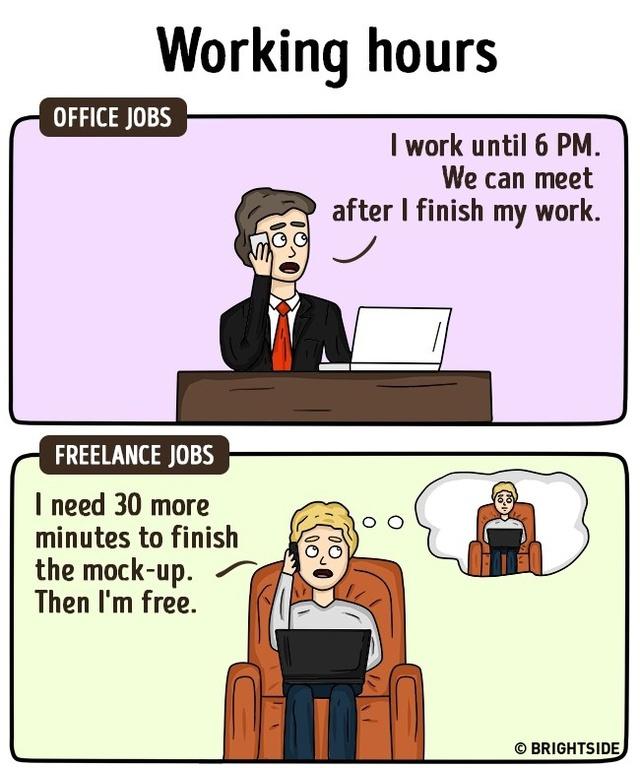 Giờ làm việc: Những người làm nghề tự do có thể chủ động sắp xếp thời gian của họ, còn người đến công sở phải tuân theo và bó buộc trong một khung giờ cố định.