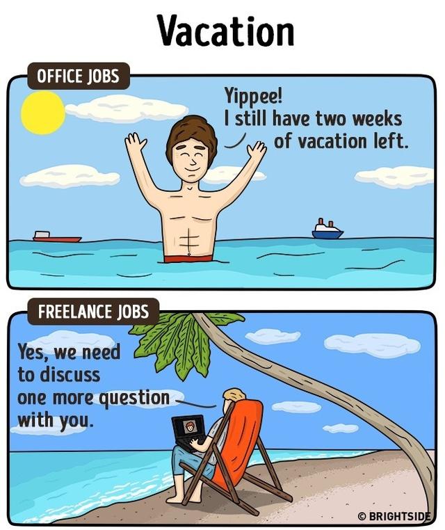 """Kỳ nghỉ chính là khoảng thời gian """"trên thiên đường"""" dành cho nhân viên công sở vì họ có thể gác lại mọi công việc và thoải mái tận hưởng, trong khi những người làm tại nhà đôi khi vẫn phải làm việc vào kỳ nghỉ."""