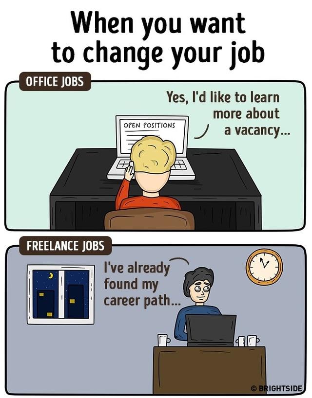 Khi muốn thay đổi công việc, các nhân viên văn phòng thường phải đắn đo khá lâu mới đưa ra quyết định. Trái lại, những người làm việc tại nhà lại dễ dàng hơn, thậm chí họ có thể ôm 2, 3 việc cùng một lúc.