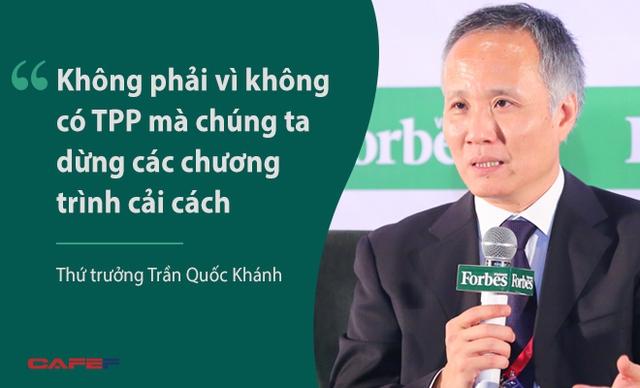 Thứ trưởng Trần Quốc Khánh đề cập tới TPP trong bối cảnh Hiệp định này đang gặp khó khăn tại Quốc hội Mỹ. Trước đó, Thứ trưởng Khánh nhấn mạnh các điều khoản mà TPP quy định hoàn toàn phù hợp với chương trình cải cách của Việt Nam, đã được xem xét cẩn thận trước khi tham gia lộ trình đàm phán. Tham gia TPP là lời cam kết của Việt Nam với thế giới, hiện thực hoá các chủ trương của nhà nước.