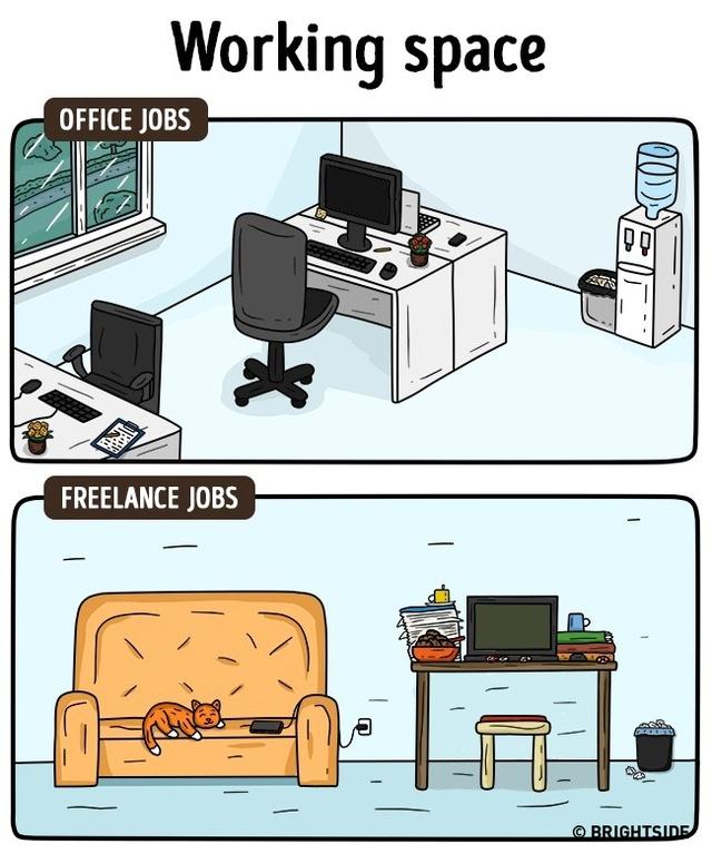 """Không gian làm việc: Nếu không gian làm việc công sở ngăn nắp và """"professional"""" bao nhiêu thì không gian làm việc tại nhà lại tự do và thoải mái bấy nhiêu."""