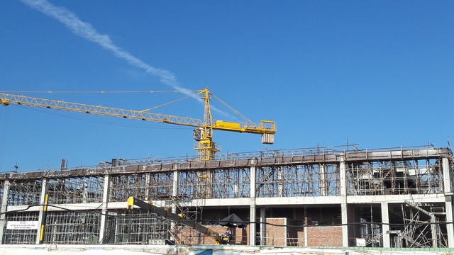 Một phần dự án Trung tâm hội nghị APEC đang được thi công phần cao tầng