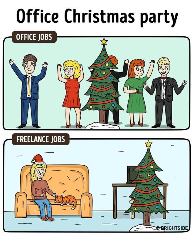 """Tiệc giáng sinh: Nếu tiệc giáng sinh tại văn phòng sôi nổi và đông vui bao nhiêu thì bữa tiệc tại nhà lại chỉ có """"ta với ta""""."""
