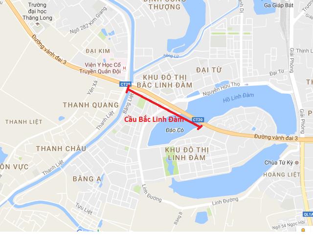 Hiện tại, đường vành đai 3 đang bị đứt quãng tại khu vực giao với Hồ Linh Đàm.