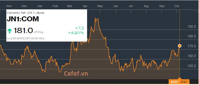 Giá cao su tự nhiên tăng mạnh thời gian gần đây