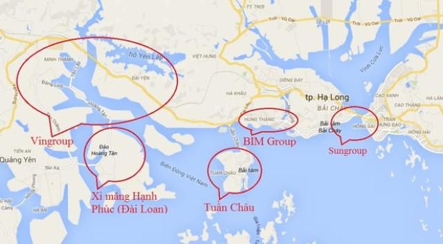 Vị trí các ông lớn địa ốc đang phát triển dự án ở Quảng Ninh