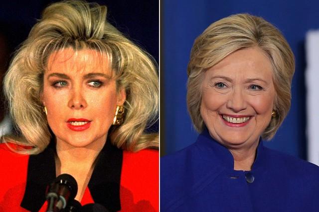 Gennifer Flowers (trái), người phụ nữ gây nhiều sóng gió trong mối quan hệ của gia đình bà Clinton.