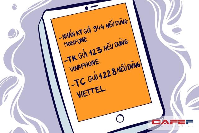 """Tuy nhiên, trong lúc chờ các cơ quan chức năng xử lý hiện tượng trên, người tiêu dùng có thể kiểm tra mình có bị """"cưỡng ép"""" dùng dịch vụ gia tăng hay không bằng cách: - Nhắn KT gửi 994 nếu dùng Mobifone - TK gửi 123 nếu dùng Vinaphone - TC gửi 1228 nếu dùng Viettel."""