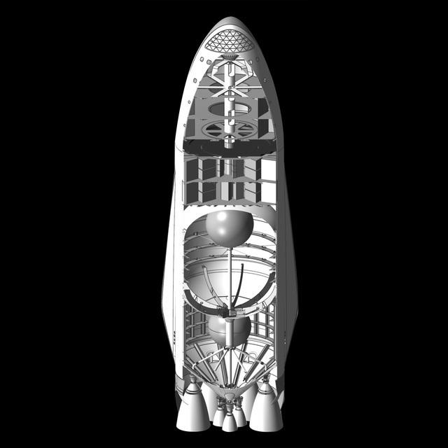 Đây là hình ảnh cắt dọc của con tàu - thứ mà Elon Musk gọi là Con tàu to khủng khiếp, bởi nó cao tới 50 mét, xấp xỉ một nửa tượng Nữ thần Tự do.