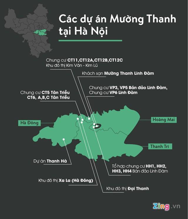 Vị trí các dự án nhà giá rẻ của Mường Thanh tại Hà Nội. Đồ hoạ: Châu Châu.