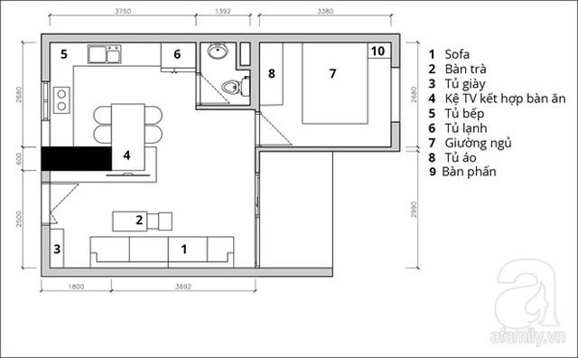 Mặt bằng tư vấn bố trí nội thất căn hộ.