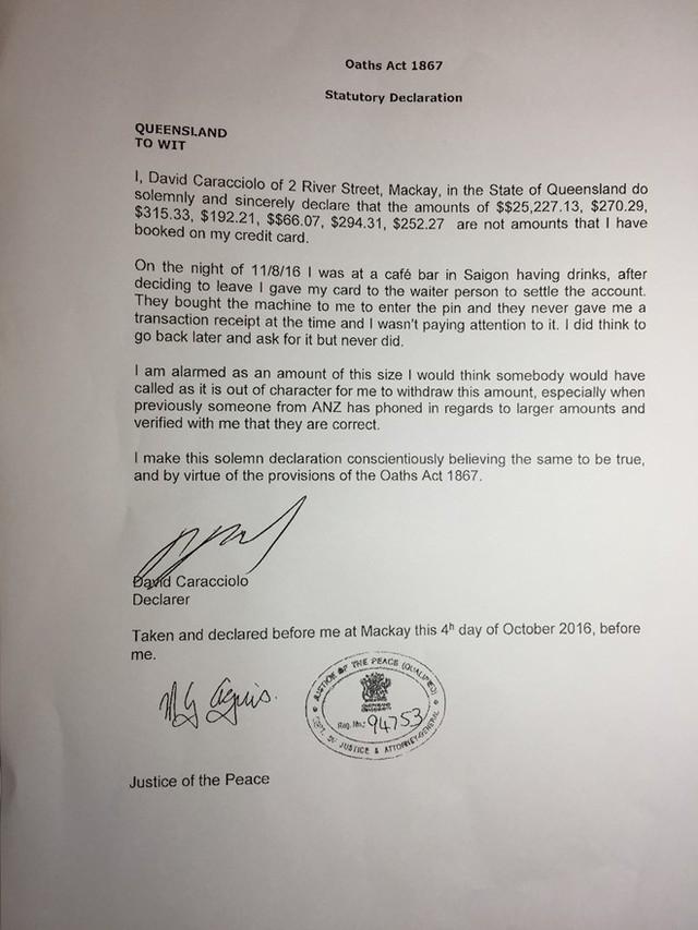 Bản khẳng định của ông Caracciolo David John có chứng nhận cơ quan chức năng Australia.