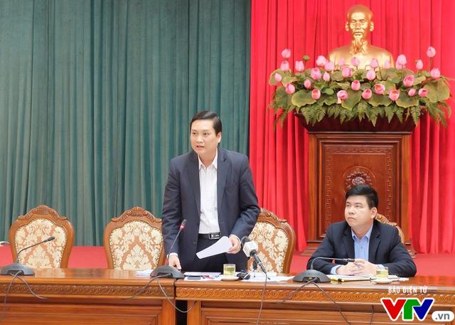 Ông Nguyễn Quốc Khánh – Phó Giám đốc Sở Lao động Thương binh Xã Hội Hà Nội phát biểu tại buổi họp.