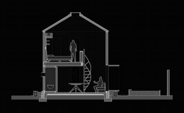 Không gian mặt cắt của ngôi nhà hình trụ.