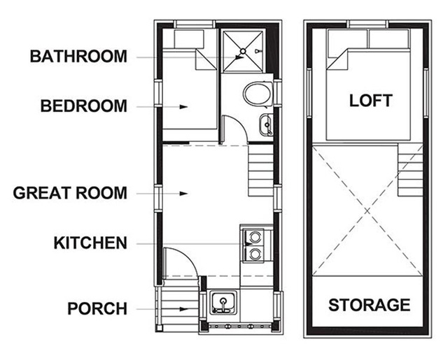 Sơ đồ bố trí toàn bộ các khu vực chức năng của ngôi nhà.