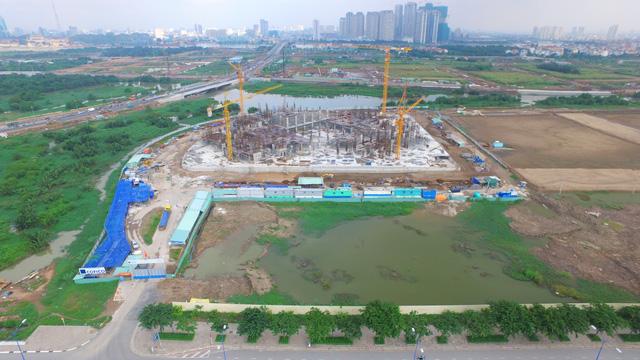 Cận cảnh thi công dự án căn hộ cao tầng ở phía Bắc đường Mai Chí Thọ (Khu đô thị Sala).