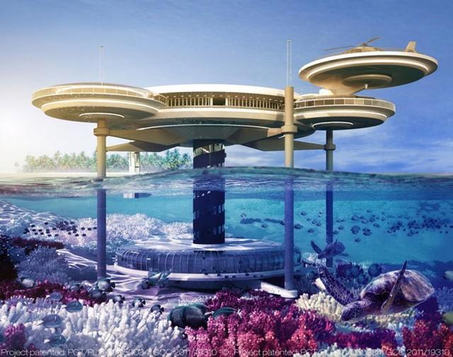 Các công trình dưới nước: Dubai đã lên kế hoạch xây dựng Water Discus - khách sạn trong lòng biển - với 21 phòng, trung tâm lặn biển và quầy bar độc đáo. Ngoài ra, thành phố còn dự định làm một sân tennis dưới nước. Ảnh: NY Daily News.
