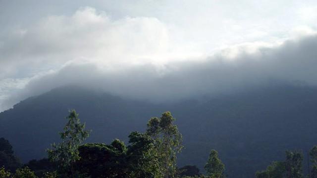 7g sáng 19-10 mây mù vẫn bao phủ kín núi Dinh