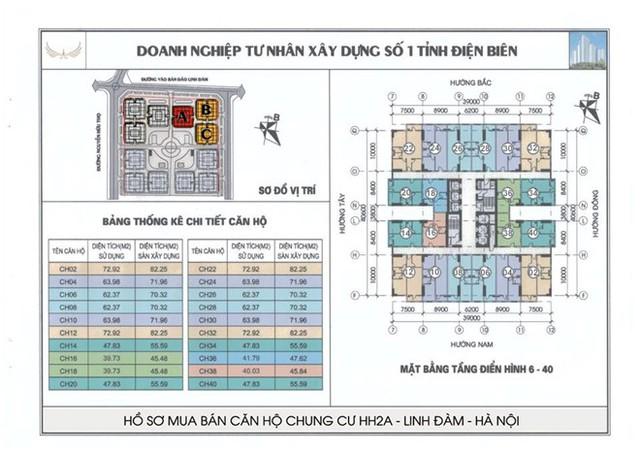 Mặt bằng điển hình một đơn nguyên trong tổ hợp HH Linh Đàm mà Mường Thanh công bố.