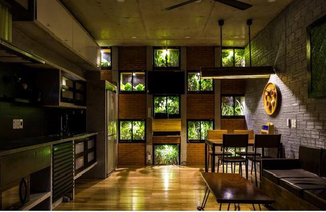 Bên trong ngôi nhà được thiết kế vô cùng độc đáo giống như một khu nghỉ dưỡng với vườn hoa, cây xanh và tràn ngập ánh sáng tự nhiên.