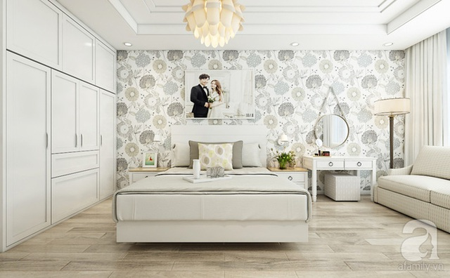 Giấy dán tường trang nhã và sử dụng ảnh cưới để làm decor trang trí tường.