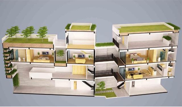 Mô hình bố trí toàn bộ ngôi nhà từ tầng 1 lên tầng 4.