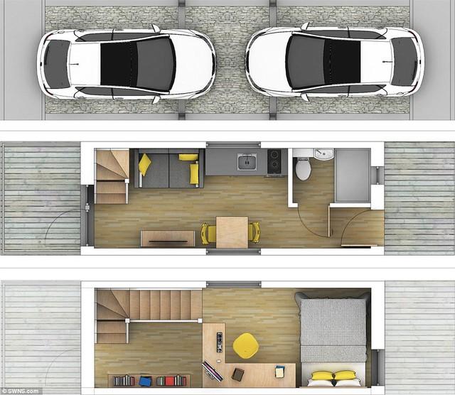 Sơ đồ bố trí không gian sinh hoạt, nghỉ ngơi vô cùng tiện nghi bên trên khu vực để xe.