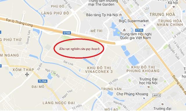 Khu vực nghiên cứu quy hoạch dự án khu vực năng đô thị Nam đại lộ Thăng Long.