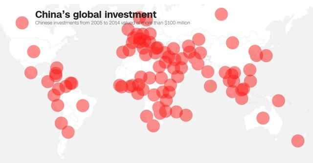 Bản đồ các khoản đầu tư có giá trị trên 100 triệu USD của Trung Quốc trên toàn cầu năm 2014 - Nguồn: CNN.