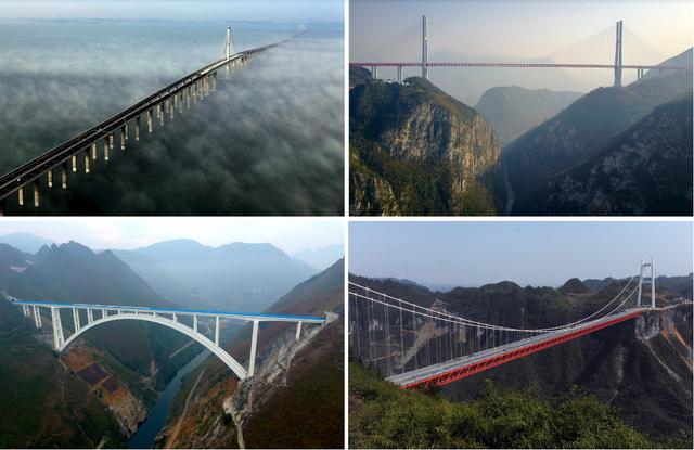 Trên khắp đất nước Trung Quốc không thiếu những cây cầu hùng vĩ như thế này. Ảnh: Credit Xinhua; Getty Images; European Pressphoto Agency; Associated Press.