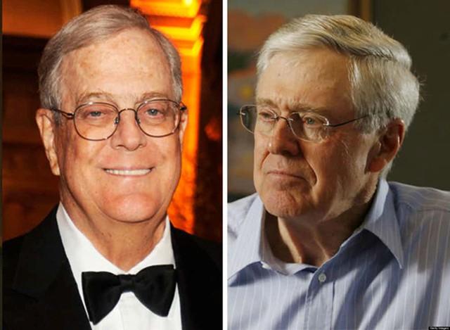 Hai anh em Charles và David Koch có khối tài sản ròng trị giá 34 tỷ USD