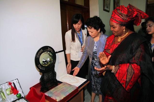 Bà Bành Lệ Viện và Đệ nhất phu nhân Tazania Salma Kikwete vào tháng 3 năm 2013. Bên trái là sản phẩm chăm sóc da Pechoin.