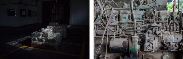 Trái: Những tải gạo trong 1 nhà kho ở Acarigua. Phải: Mạng nhện phủ lên chiếc máy cày đã hỏng tại 1 trang trại ở Turén.