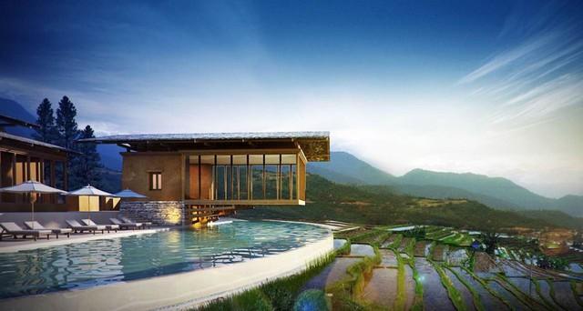 Phong cảnh nhìn từ một khách sạn ở Bhutan.