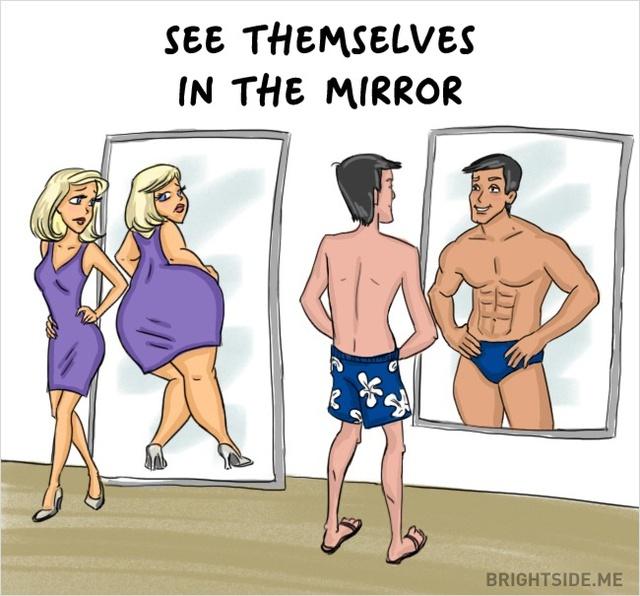 Gương kia ngự ở trên tường... Các anh luôn tự tin về hình thể còn các cô lại luôn nhìn thấy khiếm khuyết trên cơ thể mình.