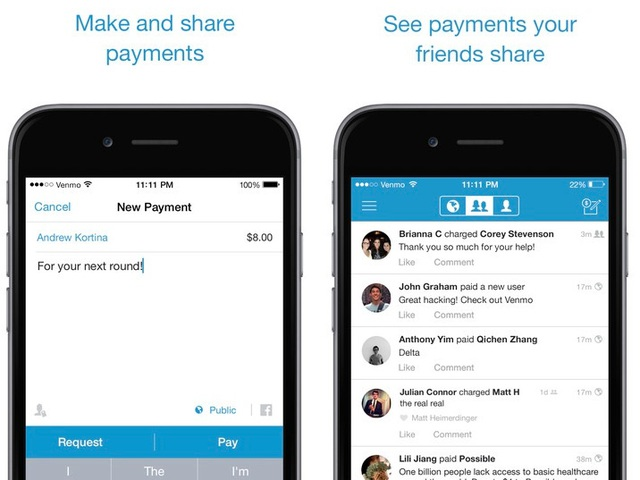 Ra đời năm 2009, Venmo giúp giải quyết việc thanh toán trực tuyến như một chiếc ví điện tử. Năm 2012, nó được mua lại với giá 26,2 triệu USD trước khi được bán cho Paypal một năm sau đó. Hiện tạy, Venmo xử lý các giao dịch lên tới 6,8 tỷ USD mỗi quý.