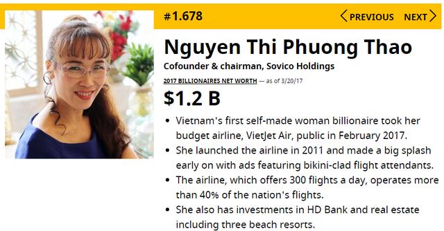 Thông tin về bà Nguyễn Thị Phương Thảo trên Forbes