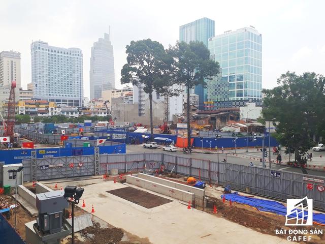 Bên trong công trường thi công nhà ga ngầm trung tâm Bến Thành, quận 1.