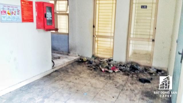 Trước cửa các căn hộ đều là rác có lẫn kim tiêm