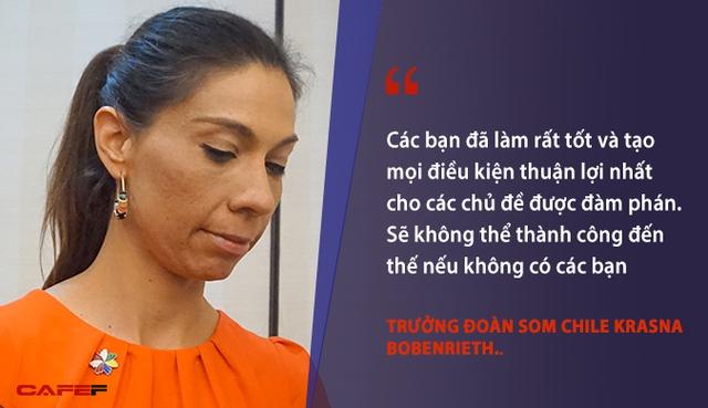 Trong vai trò nước chủ nhà APEC 2017 và các hội nghị cao cấp liên quan, Việt Nam đã có nhiều đóng góp cho FTAAP nói riêng và toàn bộ chương trình nghị sự nói chung. Các bạn đã làm rất tốt và tạo mọi điều kiện thuận lợi nhất cho các chủ đề được đàm phán. Sẽ không thể thành công đến thế nếu không có các bạn - Trưởng đoàn SOM Chile Krasna Bobenrieth.