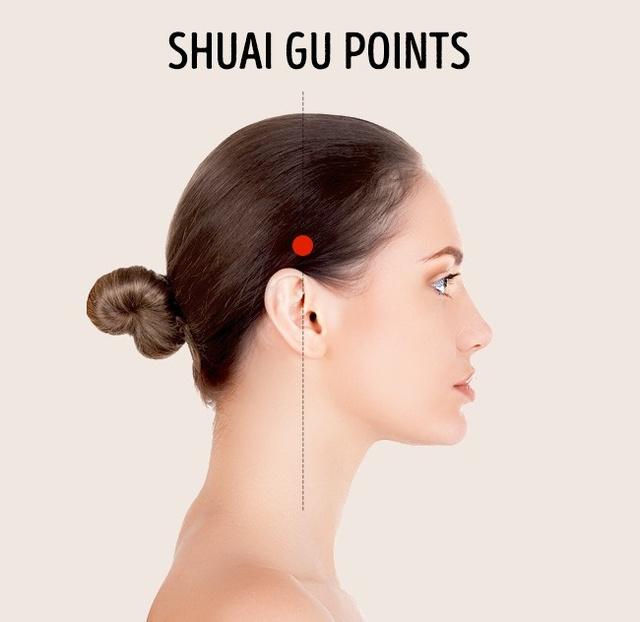 Cách vành tai 2 - 3 cm có một điểm lõm. Massage vị trí này giúp giảm các cơn đau và các dấu hiệu mỏi mắt đáng kể.
