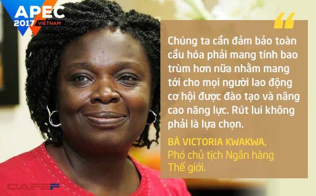 """""""Chúng ta cần đảm bảo toàn cầu hóa phải mang tính bao trùm hơn nữa nhằm mang tới cho mọi người lao động cơ hội được đào tạo và nâng cao năng lực. Rút lui không phải là lựa chọn"""", bà Victoria Kwakwa, Phó chủ tịch Ngân hàng Thế giới, nói."""
