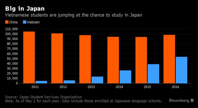 So sánh số du học sinh Việt Nam và Trung Quốc ở Nhật Bản qua từng năm.