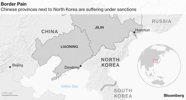 Nền kinh tế Cát Lâm và Liêu Ninh, những tỉnh nằm gần biên giới Trung - Triều, bị ảnh hưởng khá nặng bởi lệnh cấm vận Triều Tiên.