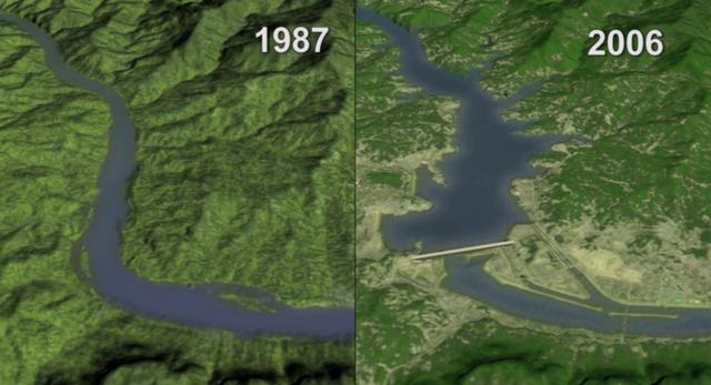 Bức ảnh vệ tinh chụp năm 1973 thể hiện khu vực này gần như chưa được động đến trước khi có đập Tam Hiệp. Vùng màu đỏ là các thảm thực vật, còn vùng màu xám là nơi có dân cư sinh sống.